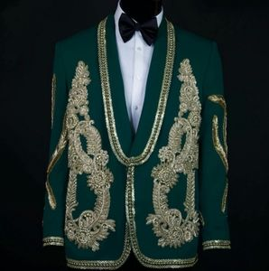 Other - Men's Green Crystal Embroidered Tuxedo